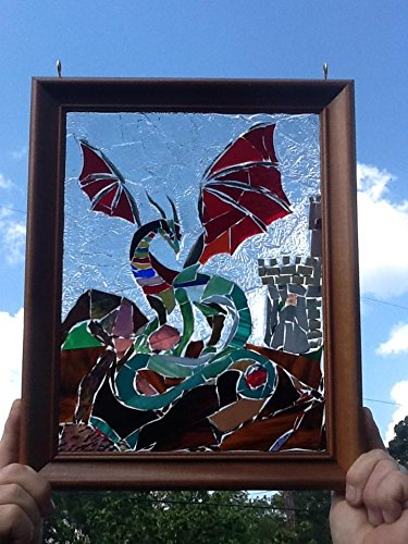 Stained Glass Dragon Window Art Sun Catcher
