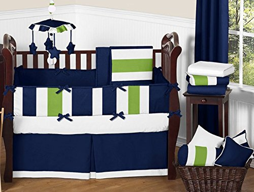 Sweet Jojo Designs Children Kids Teen Clothes Laundry Hamper for Navy and Lime Stripe Bedding Set