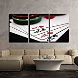 wall26 - 3 Piece Canvas Wall Art - Cards laying around with poker chips on top. - Modern Home Decor Stretched and Framed Ready to Hang - 16'x24'x3 Panels