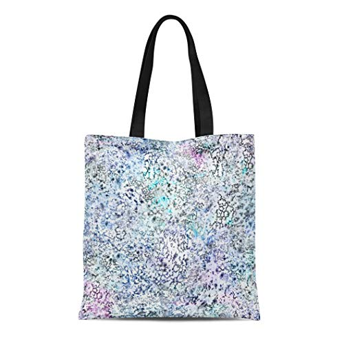 Semtomn Cotton Canvas Tote Bag Transitions Spotted in Iridescent Colors Dots Glam Holographic Marbling Reusable Shoulder Grocery Shopping Bags Handbag Printed