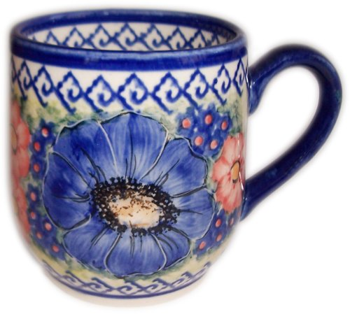 Polish Pottery Blue Art - Polish Pottery Mug Coffee or Tea Cup 10 oz - Isabelle