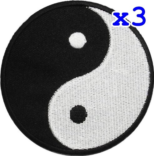 UPC 748810156592, Pack of 3 Yin Yang Tao Dao Rainbow Chinese DIY Applique Embroidered Sew Iron on Patch YY-05