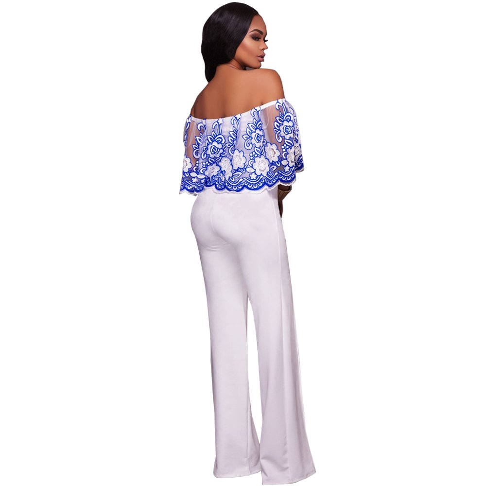 0ddadaed6a Amazon.com  Women Sexy Off Shoulder Floral Lace Ruffle Sleeve Wide Leg Long  Pants Jumpsuit Romper Clubwear Blue White