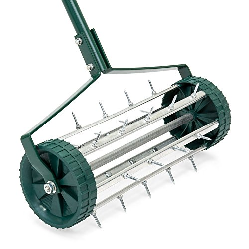Best Choice Products 18in Rolling Lawn Aerator for Garden Grass Soil Care w/Steel Handle, 2 Wheels, Tine Spikes - Green