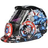 AUDEW Caretas para soldar Máscara solar ajustable de soldadura Arco Apagado LCD solar automático casco de soldadura Welding Helmet(Uso energía solar Recambio)Protección de cara (Capitán América)