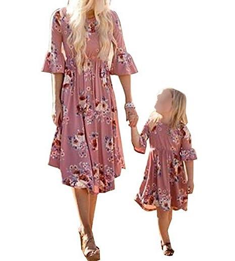 cbd2df31cdf Mother Daughter Matching Women Girl Floral Printed Long Sleeve Sundress  Beach Party Princess Long Maxi Dress