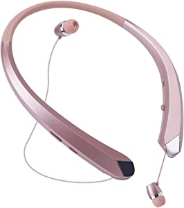 Bluetooth Headphones, Wireless Neckband Earbuds Retractable Headset Stereo Sweat-Proof Sports Earphones with Mic for iPhone X/8/7/6, Android and Other Bluetooth Devices (Rose)