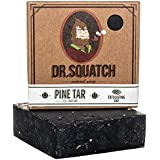 Dr. Squatch Pine Tar Soap – Mens Soap with Natural Woodsy Scent and Skin Scrub Exfoliation – Black Soap Bar Handmade with Pin