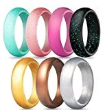 ALEXTINA 5.5MM Rose Gold Silicone Wedding Rings for Women Comfortable Rubber Band for Sport, 7 Pack, Size 4