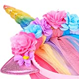 Unicorn Headband With Tulle Mane and Flowers For