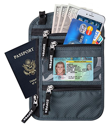 Zoppen RFID -Blocking Travel Passport holder Neck Stash Ultra Slim Wallet, Smoky Grey