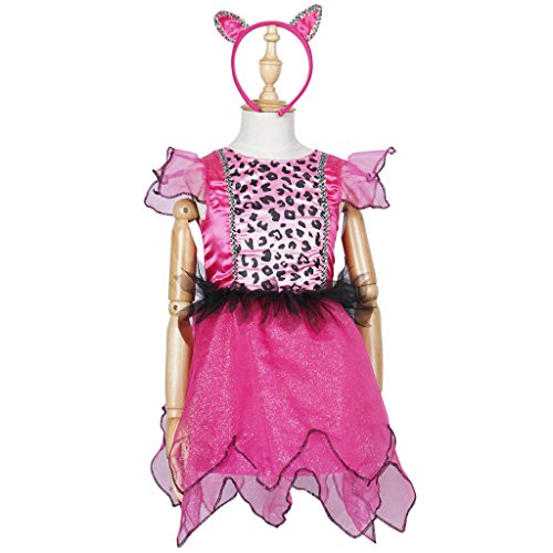 Animal Dance Costumes - FantastCostumes Toddler Pink Animal Little Leopard with Tail Costumes Dress(Pink, M(3T-4T))