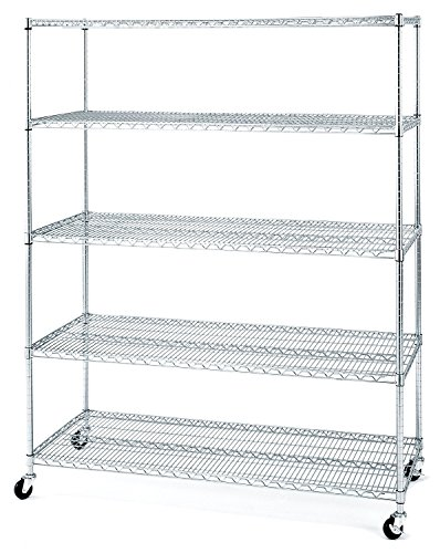 Seville Classics UltraDurable Commercial-Grade 5-Tier Steel Wire Shelving with Wheels, 24 x 60
