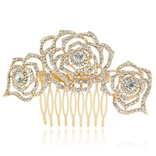 EVER FAITH Women's Austrian Crystal Bridal 3 Rose Flowers Hollow-Out Hair Side Comb Clear Gold-Tone ()