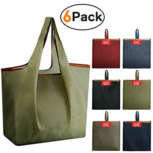 (REGER Reusable Bags Grocery Shopping Tote Fabric Bags Bulk Foldable into Attached Pouch 50LBS larger Reusable Gift Bags Washer Washable Cloth Bags)