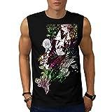 Happy Nature Tale Magic Beauty Men NEW Black S-2XL Sleeveless T-shirt | Wellcoda