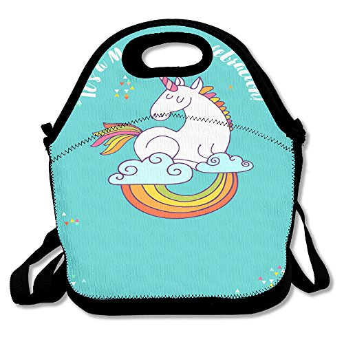 Unicorn Horse Retro Insulated Heating Polyester Shoulder Strap Women Men Kids Adult Black Lunch Bag Tote Cooler Box For School Office
