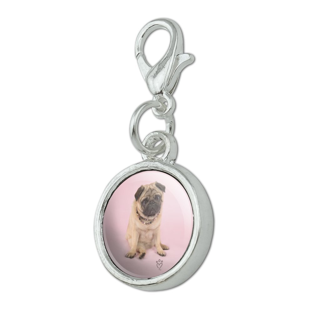 GRAPHICS /& MORE Pug Puppy Dog Sitting Pink Necklace Antiqued Bracelet Pendant Zipper Pull Charm with Lobster Clasp