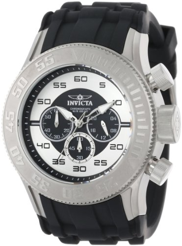 Invicta Men's 14974 Pro Diver Chronograph Black Silver Dial Black Silicone Watch