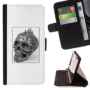 Momo Phone Case / Flip Funda de Cuero Case Cover - Cráneo del punk rock Blanco Negro Cartel - Apple Iphone 6