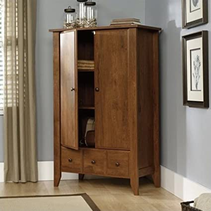 Bedroom Antique Closet Cabinet Wardrobe Armoire Clothes Drawers Organizer  Solid Wood