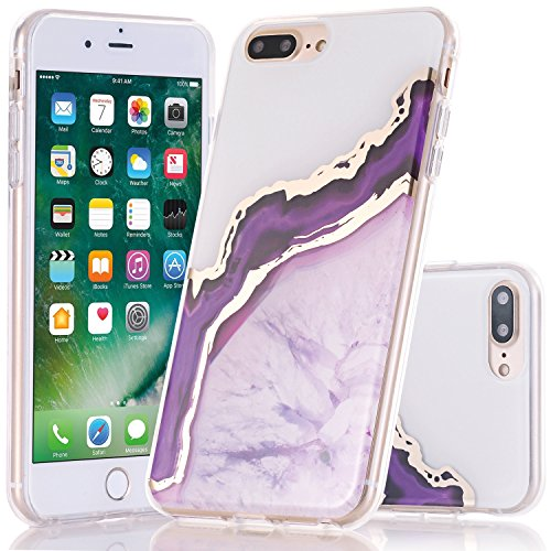 iPhone 7 Plus Case, BAISRKE iPhone 8 Plus Shiny Gold Purple Marble Agate Crystal White Back Shock Absorption Soft Clear TPU Edge Bumper and Rigid Hard Plastic Back Cover for iPhone Plus 5.5 inch (Rose Gold Agate White)