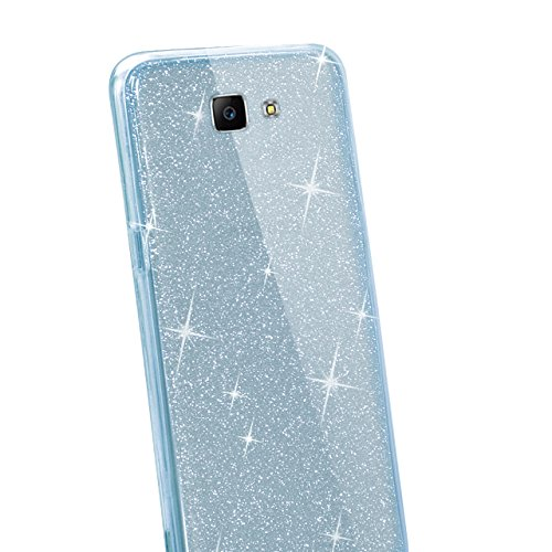 Funda Doble para Samsung Galaxy J5 Prime, Vandot Bling Brillo Carcasa Protectora 360 Grados Full Body | TPU en Transparente Ultra Slim Case Cover | Protección Completa Delantera y Trasera Cocha Smartp Bling Blue