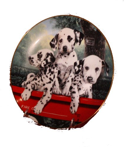 (The Princeton Gallery Three Alarm Fire By Linda Pitkin Collectible Plate Dated 1992 Cute Picture of Three Dalmatian Puppies Riding in a Red Wagon)