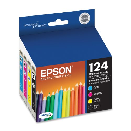 Epson T124120-BCS Epson DURABrite Ultra 124 Moderate-capacity Ink Cartridge Black and Color Combo Pack (C/M/Y/K) (T124120-BCS) Ink, Office Central