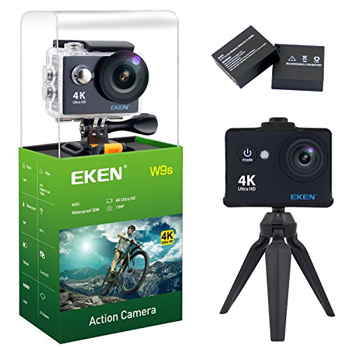 EKEN W9s Action Camera, Full HD Wifi Waterproof Sports Camera with 4K/1080P30fps/ 720P30fps Video, 12MP Photo and 140 Wide-Angle Lens, includes 11 Mountings Kit, 2 Batteries (Black) Action Cameras EKEN