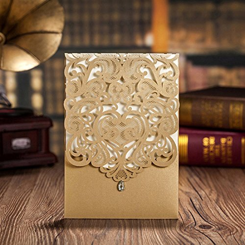 Doris Home Vertical Gold Classic Style Wedding Invitations with Rhinestone Cards Kit Custom,CW5010, 50pcs Pack (Invite Wedding Kit)