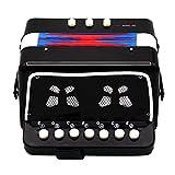 Dovewill Kids Accordion Children 7-Key 2 Bass Educational Musical Rhythm Band Toy Black