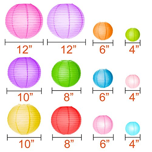 Paxcoo 12 Pack Paper Lanterns with Assorted Colors and Sizes by PAXCOO (Image #2)