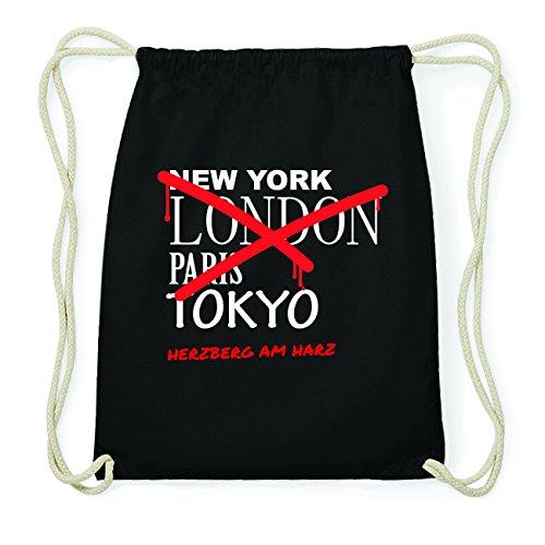 JOllify HERZBERG AM HARZ Hipster Turnbeutel Tasche Rucksack aus Baumwolle - Farbe: schwarz Design: Grafitti