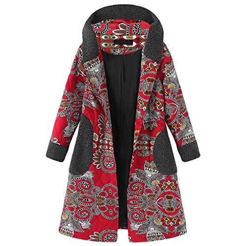 tasche cappuccio Chiusura invernale Mantenere Cappotto donna scatto caldo caldo cotone stampate Luckycat Abbigliamento e sciolto a lino spesse rosso più con Capispalla BqfYvC66w