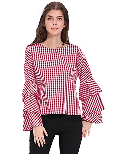 StyleDome Mujer Camiseta Playa Mangas Largas Volante Verano Cuello Redondo Elegante Noche Oficina Rojo