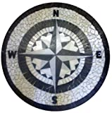 Tile Floor Medallion Marble Mosaic Black & White Compass Rose Star 24''