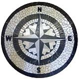 Tile Floor Medallion Marble Mosaic Black & White Compass Rose Star 28''