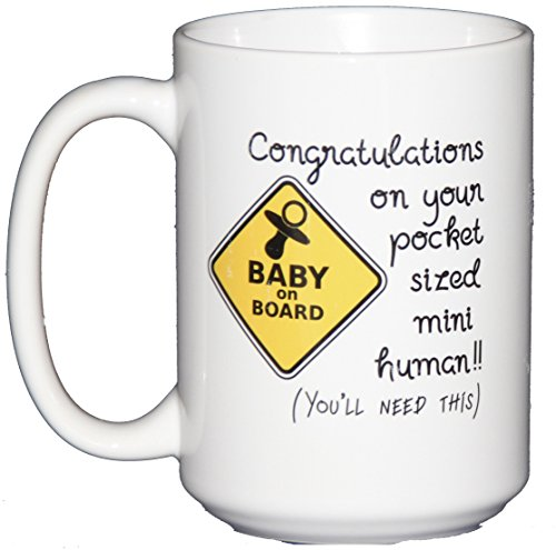 Congratulations on your Pocket Sized Mini Human - You'll Need This - Funny Coffee Mug for New Mom Baby Shower Gift (Mom Glitter)