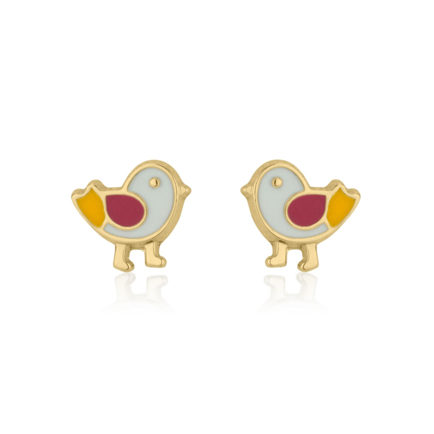 14K Fine Yellow Gold Enamel Chick Screw Back Stud Earrings for Baby Girls Kids Children Gift by youme Gold Jewelry (Image #1)