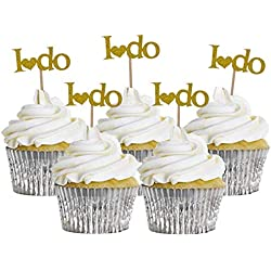 A Little Lemon 20 Pcs I DO Wedding Cupcake Toppers Bridal Shower Party Picks Engagement Party Favors Cake Decoration Supplies