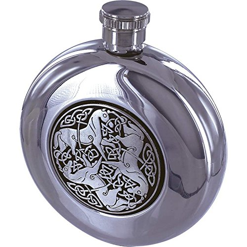 Maxam 5oz Round Stainless Steel Flask with Celtic Horse -