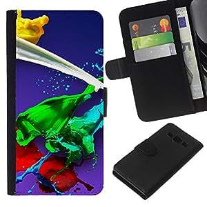 All Phone Most Case / Oferta Especial Cáscara Funda de cuero Monedero Cubierta de proteccion Caso / Wallet Case for Samsung Galaxy A3 // Paint Splash Green Red Yellow White Blue