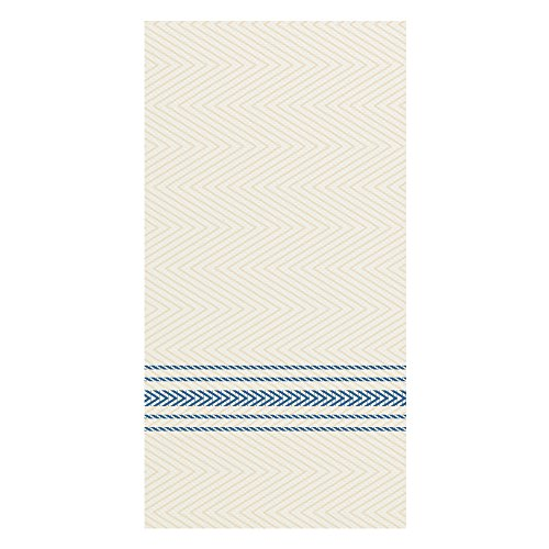Hoffmaster FP1111 FashnPoint Blue and White Dishtowel Printed Dinner Napkin, Ultra Ply, 15 1/2
