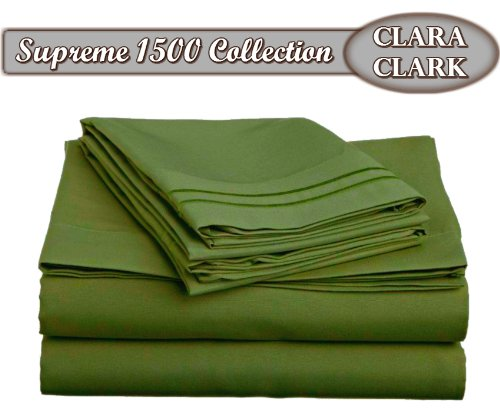 Clara Clark Superior Bed Sheet Set - Double Brushed Microfiber 4-Piece Bed Set - Deep Pocket Fitted Sheet - Queen - Calla Green