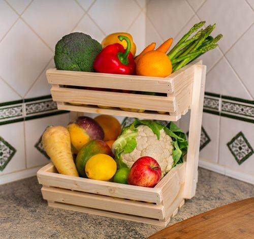 Amazon.de: 2 Ebenen, für Gemüse/Obst, aus Holz, zur ...