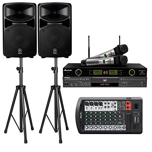 Yamaha Stagepas 600BT PA System W/Bluetooth Bundle with Acesonic DGX-220 HDMI Karaoke Player, Acesonic UHF-5200 Pro Dual Mic System and Speaker Stand