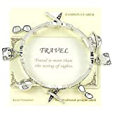 "Inspirational Silver Travel Charm Stretch Bracelet. Bookmark ""Travel Is More Than the Seeing of Sights."""