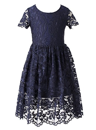 Happy Rose Flower Girl Lace Dress Country Dresses Junior Bridesmaid Navy Blue 6 -