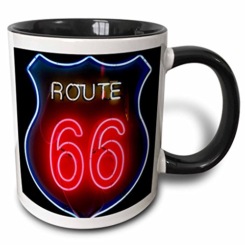 3dRose 191262_4 Albuquerque New Mexico Use Route 66 Two Tone Mug, 11oz, Black ()